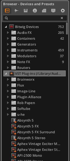 С VST-плагинами у Bitwig также нет никаких проблем. Будь они 64 или 32-х битные. Единственное слабое место - отсутсвие поддержки AU.