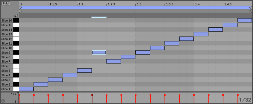 Переупорядочение срезанных MIDI-данных.