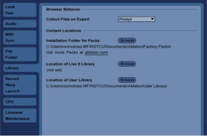 Местонахождение библиотеки пользователя в Ableton Live можно посмотреть во вкладке Files