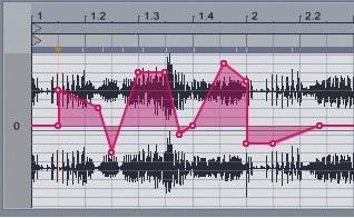 Рисование огибающей для транспонирования аудио-клипа